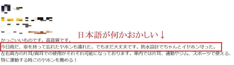 アマゾン日本語がおかしいサクラレビューの疑い画像
