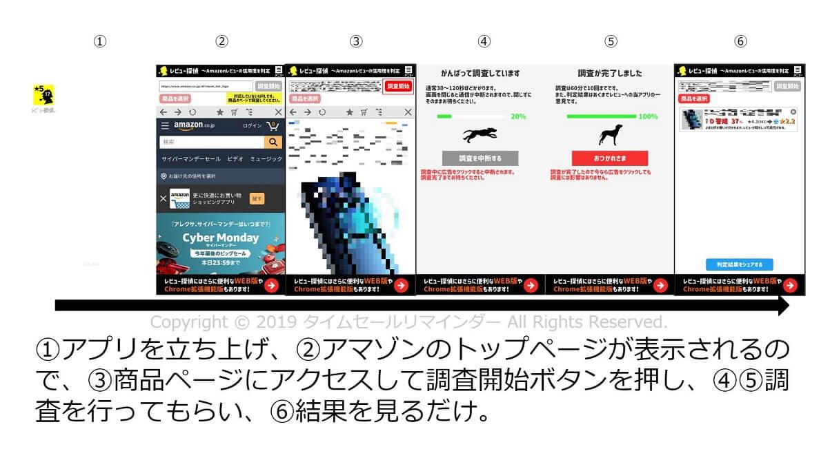 レビュー探偵スマホアプリ版流れ画像